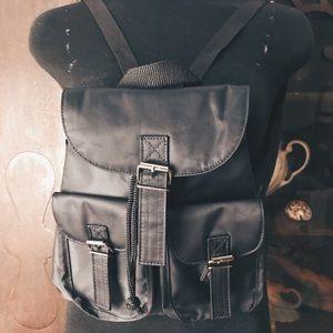 Vintage 90s Black Nylon Backpack Purse